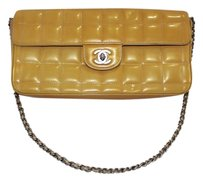 Chanel Casual Formal Quilted Cc Logo Yellow / Silver Clutch