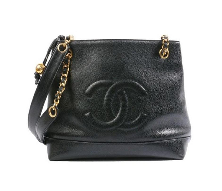 black chanel bags. chanel caviar vintage tote in black bags