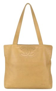 Chanel Cc Logo Quilted Leather Chan Handles Tote in Beige