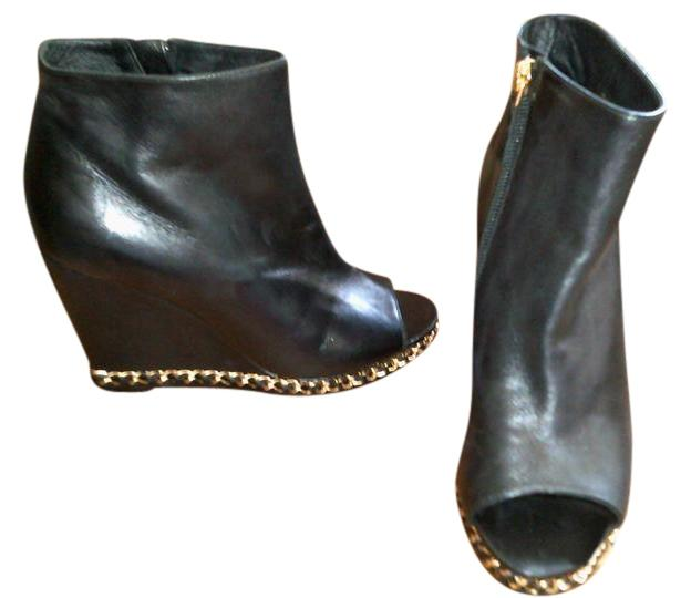 chanel quilted boots. chanel cc wedge open toe quilted flawless black/gold boots
