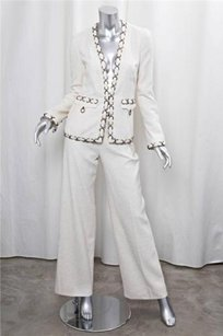 Chanel Chanel 02p White Silk Weave Brass Ring Detail Pant Suit Outfit S.36