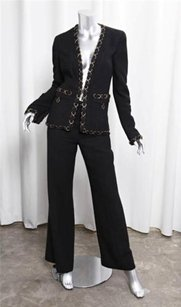 Chanel Chanel 02p Womens Classic Black Silk Chain Blazer Jacket Pant Suit Outfit 386