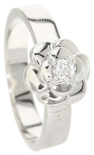 Chanel CHANEL 18K White Gold Camelia / Diamond Ring Us Size 5.75