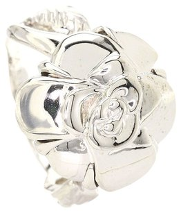 Chanel CHANEL 18K White Gold Camellia Flower Ring Us Size 5.375