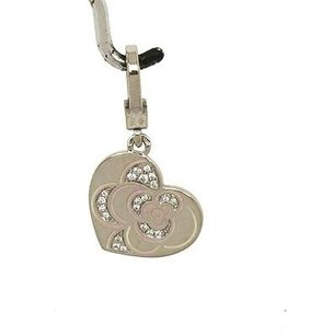 Chanel Chanel 18k White Gold Diamond Pink Enamel Floral Heart Pendantcharm