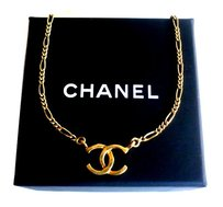 Chanel CHANEL ~ Authentic Vintage Gold Plated Necklace/Chain/Choker - Monogra