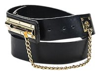 Chanel Chanel Black Leather Gold Tone Metal Chain Buckle Cc Belt 9036