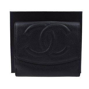 Chanel CHANEL Bifold Wallet Caviar Skin Leather Black