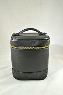 Chanel Chanel Black Leather Vanity Cosmetic Case