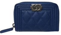 Chanel Chanel Boy Zip Around Wallet Coin Purse Card Holder Blue Caviar Silver HW