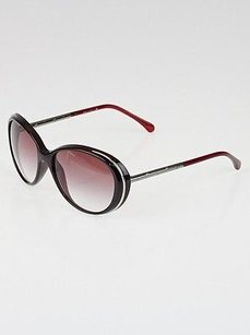 Chanel Chanel Burgundy Red Gradient 6037 57 135 Silver Cc Embossed Round Sunglasses