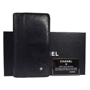 Chanel CHANEL CC Logos Camellia Long Bifold Leather Wallet Purse