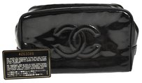 Chanel CHANEL CC LOGOS COSMETIC POUCH BAG BLACK PATENT LEATHER VINTAGE