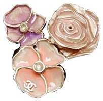 Chanel Chanel Cc Pastel Painted Camellia Gold Tone Costume Ring