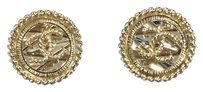 Chanel Chanel CC Round Golden Stud Earrings