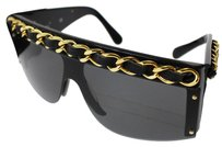 Chanel CHANEL-Chain-Sunglasses-Black-Gold-Tone-Italy-Rare-Vintage-Authentic