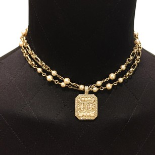 Chanel Chanel Double Strand Strass CC Choker Necklace with Crystals Pearls Gold