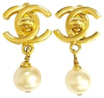 Chanel CHANEL Gold Tone CC Faux Pearl Clip-on Drop Earrings