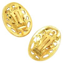 Chanel Chanel Gold Tone CC Logo Oval Earrings
