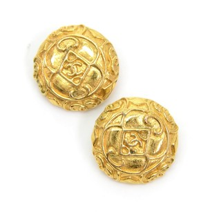 Chanel Chanel Gold Tone CC Round Earrings