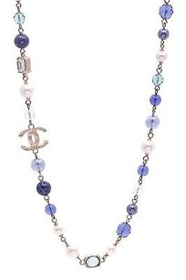 Chanel Chanel Gold-tone Faux Pearl Blue Bead Cc Logo Long Necklace