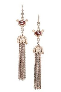 Chanel Chanel Gold-tone Red Enamel Paris-shanghai Tassel Drop Earrings