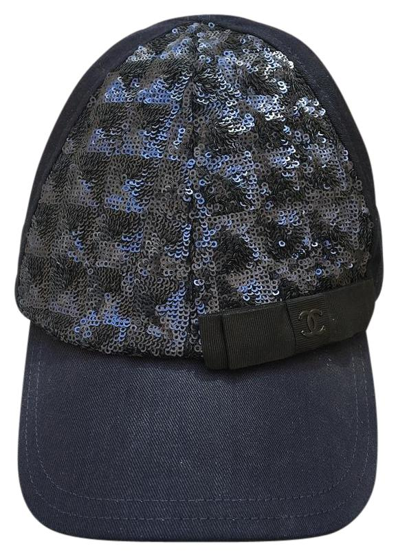 chanel chanel hat baseball cap navy blue sequin 35