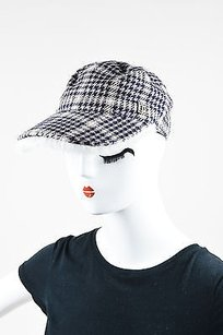 Chanel Chanel Identification Navy Gray Houndstooth Fur Lined Newsboy Hat