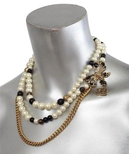 Chanel Chanel Pearl Crystal Bow Goldtone Gold Layered Strand Chain Choker Necklace