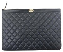 Chanel Chanel Large Boy O Case Cosmetic Pouch in Black Caviar Gold HW