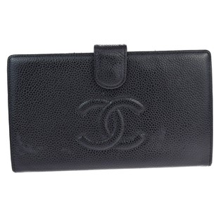Chanel CHANEL Long Bifold Wallet Caviar Skin Leather