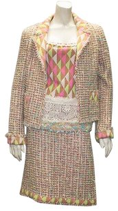 Chanel Chanel Multi Color Wool Blend Tweed Diamond 3pc Tank Skirt Suit 04a