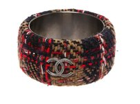 Chanel Chanel Navy Multicolor Tweed CC Bangle Bracelet 813A (Size S) 210258