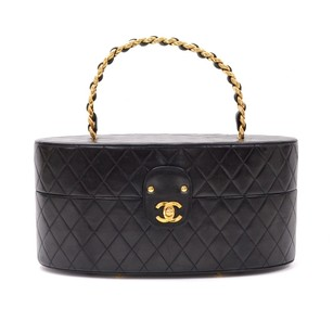 Chanel Chanel Oval Black Leather Cosmetic Hand Bag