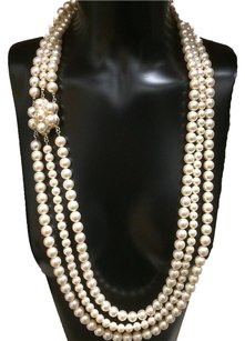 Chanel Chanel Pearl Necklace Triple Strand Camelia Gold HW 2016
