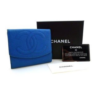 Chanel CHANEL Rare Blue Caviar Leather Billfold Wallet Purse