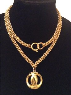 Chanel CHANEL RARE VINTAGE 18k GOLD PLATED CC ORB NECKLACE