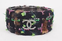 Chanel Chanel Runway 13a Cc Logo Multi-colored Wool Tweed Bangle Bracelet