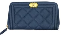 Chanel Chanel Small Boy Zip Around Wallet In Blue Caviar With Gold Hardware