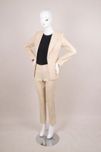 Chanel Chanel Tanwhite Pinstripe Cotton Blend Pant Suit