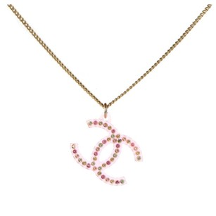 Chanel CHANEL Translucent Resin Crystal CC Necklace Pink Multicolor Very Light Wear Condition
