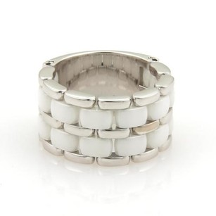 Chanel Chanel Ultra White Ceramic 18k White Gold Flex 12mm Band Ring -size 8.75