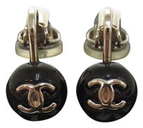 Chanel CHANEL VINTAGE CC LOGOS EARRINGS BLACK CLIP-ON ACCESSORIES