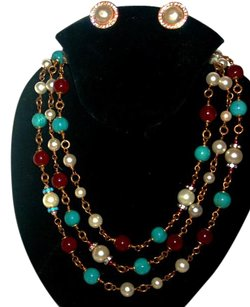 Chanel Chanel Vintage Gripoix Red,Turquoise & Pearl Necklace Sautoir
