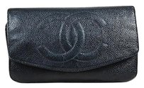 Chanel Chanel Black Caviar Leather Front Flap Wallet