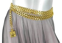 Chanel Chanel Womens Gold Tone Hanging Chain Link Perfume Bottle Charm Waist Belt