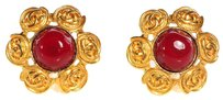 Chanel *CHECK STOCK* CHANEL Vintage Resin CC Clip On Earrings Gold Red