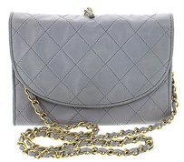 Chanel Quilted Flap Blue Clutch