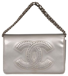 Chanel Crystal Cc Strauss Wallet On A Chain Woc In Silver Patent Leather Cross Body Bag