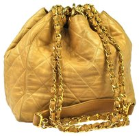 Chanel Cc Quilted Draw String Shoulder Bag